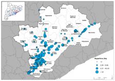 Superfície (Ha) dels PAE del Vallès Oriental