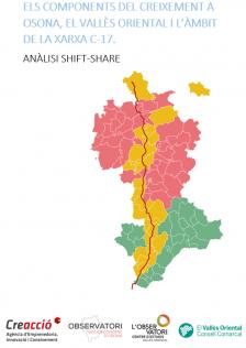 Els components de creixement a Osona, el Vallès Oriental i la Xarxa C-17. Anàlisi Shift-Share.